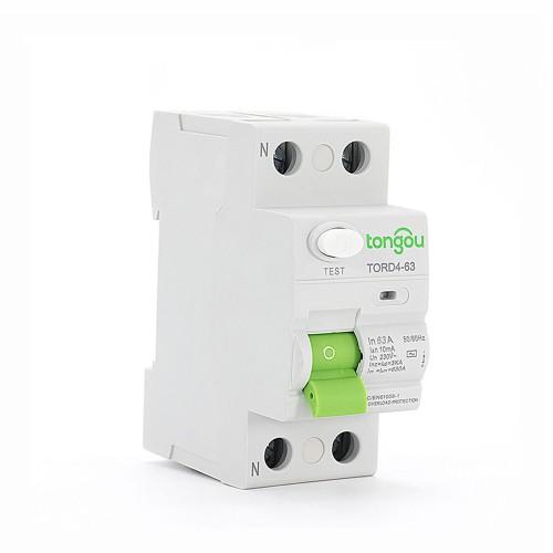 TORD4-63 2P 63A 10mA A/AC Tipo electrónico Disyuntor de corriente residual  RCCB RCD