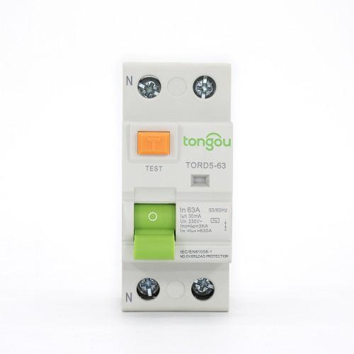 TORD5-63 2P 63A 30mA A/AC Tipo Disyuntor de corriente residual RCCB RCD