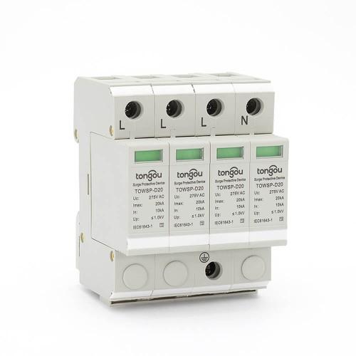 SPD AC 4P 10KA ~ 20KA D ~ 275V Protección contra sobretensiones de la casa. Dispositivo de protección de baja tensión