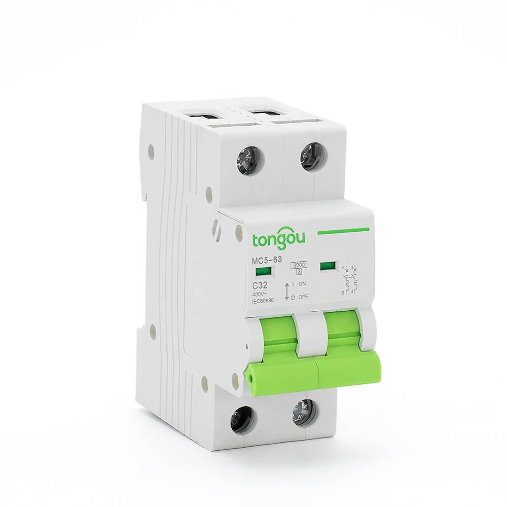 TONGOU 2P 32A AC Curve C MCB Miniature Circuit Breaker