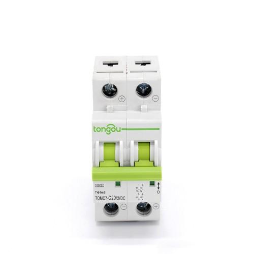 TOMC7-63 2P 20A DC Мини автоматический выключатель для солнечной энергии MCB