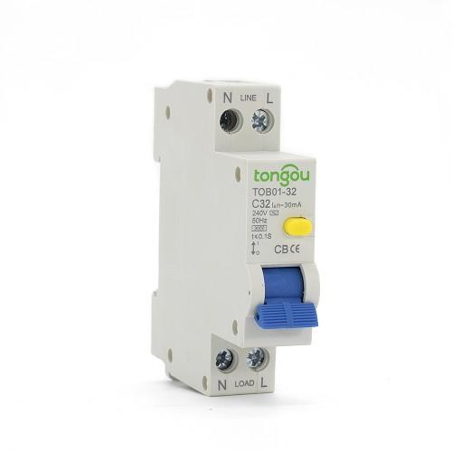 TOB01-32 240V 32A 30mA RCBO Устройство защитного отключения с защитой от перенапряжения