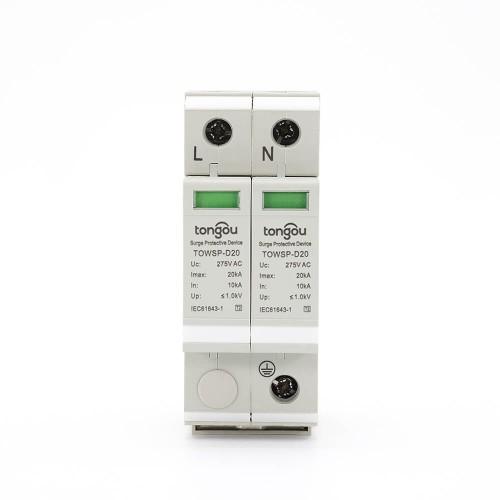 SPD AC 1P+N 10KA~20KA D~275V Домашний сетевой низковольтный предохранитель