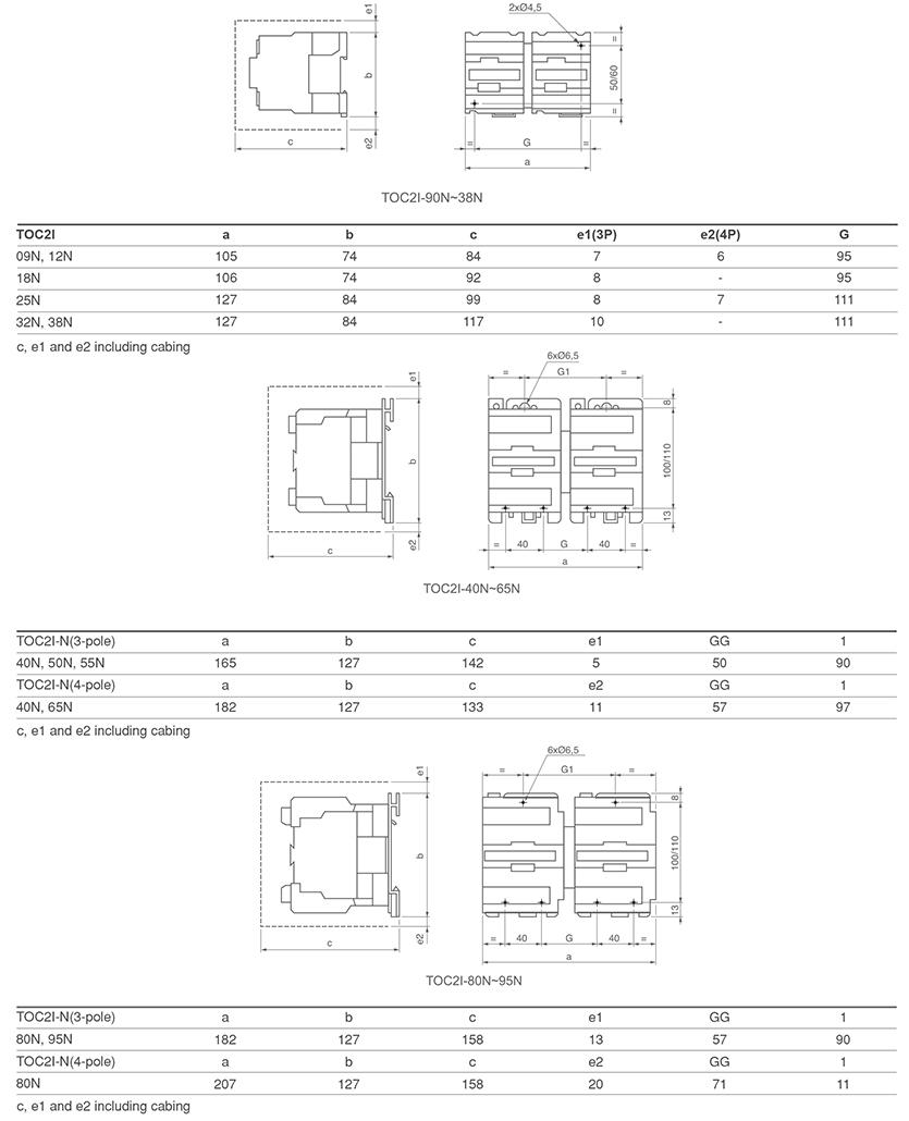 TOC2XN-MI mechanical interlocking contactor mounting dimension