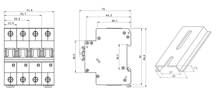 TOMC7-63 6KA mini circuit breaker Installation dimensio
