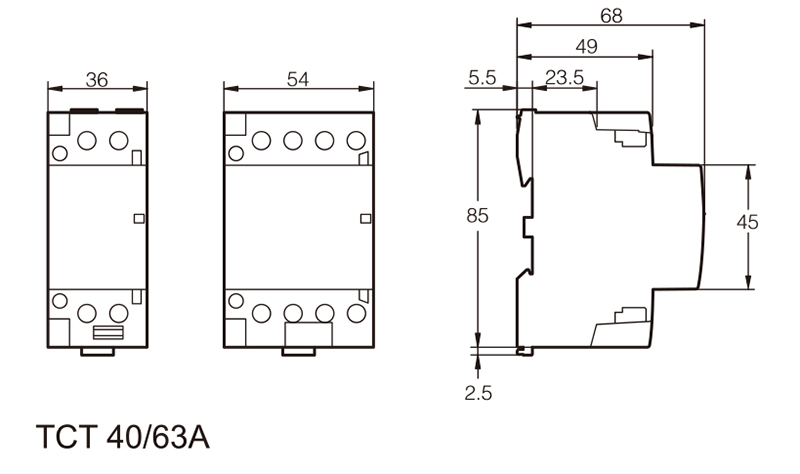 TOTCT-63 Household Modular contactor 2P 63A 1NO 1NC 220V single phase