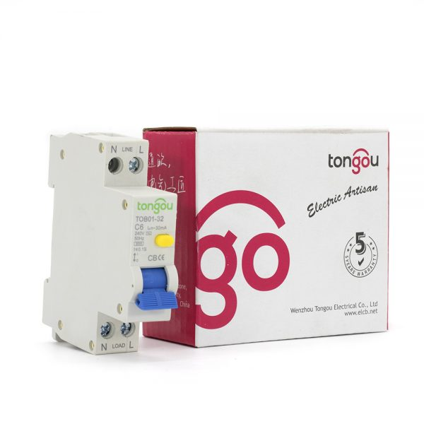 TOB01-32 240V 6A 30mA RCBO Residual Current Circuit Breaker with Overcurrent Protection