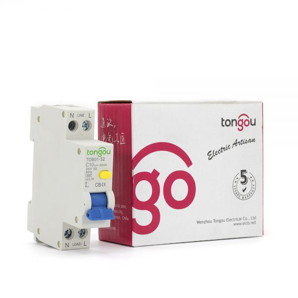 TOB01-32 240V 10A 30mA RCBO Residual Current Circuit Breaker with Overcurrent Protection