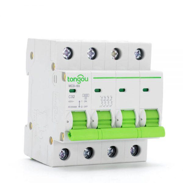 TOMC3-63 3KA 110V 220V Curve C 4P 32A Mini Circuit Breaker MCB