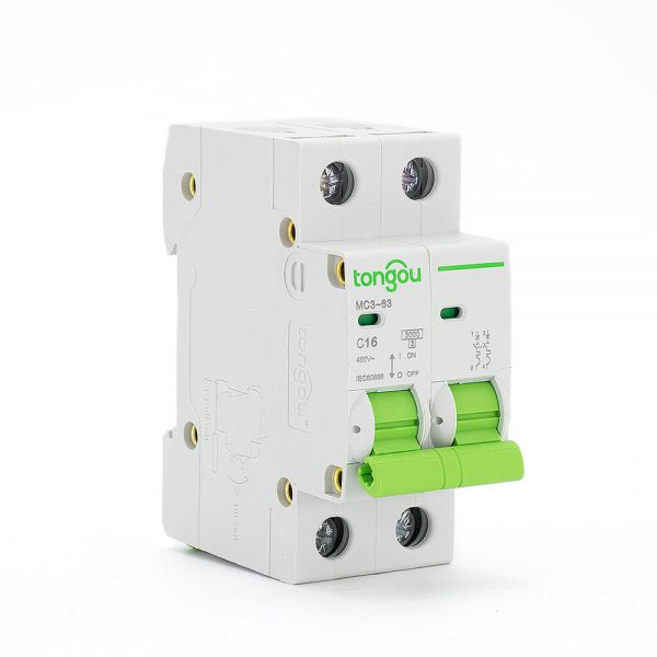 TOMC3-63 3KA Curve C AC Voltage 110v 220v 2P 16A MCB Miniature Circuit Breaker