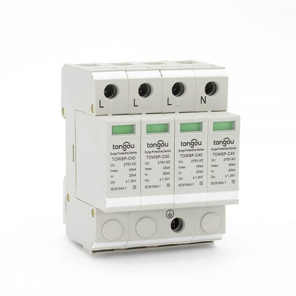 SPD AC 4P 20KA~40KA C ~275V House Surge Protector Protection Protective Low-voltage Arrester Device