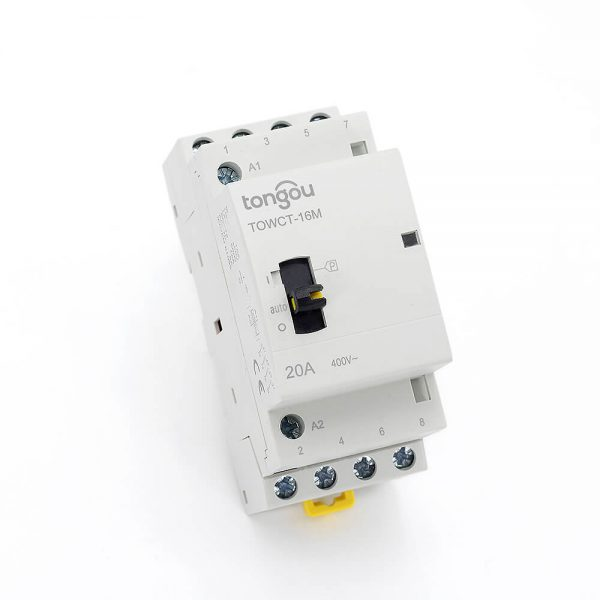 4P 20A 4NO CE CB Din Rail Household Modular Contactor AC 220V/230V With Manual Control Switch TOWCTH-20/4