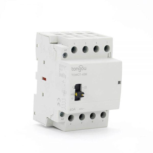 4P 40A 4NO CE CB Din Rail Household Modular Contactor AC 220V/230V/400V With Manual Control Switch TOWCTH-40/4