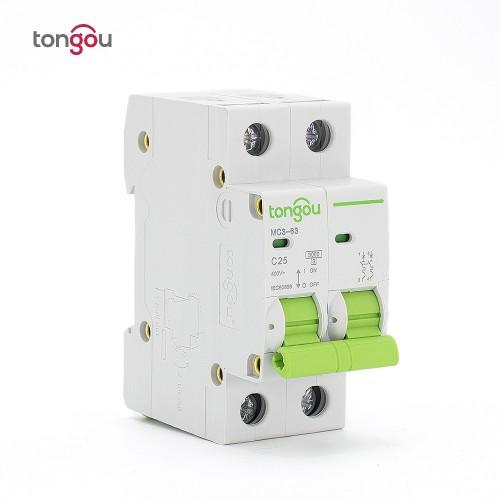 TOMC3-63 3KA Curve C AC Voltage 110v 220v 2P 25A MCB Miniature Circuit Breaker