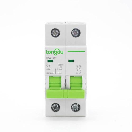 TOMC3-63 3KA Curve C AC Voltage 110v 220v 2P 6A MCB Miniature Circuit Breaker