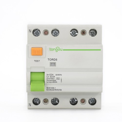 TORD5-63 4P 63A 30mA A/AC Type Residual Current Circuit Breaker RCCB RCD