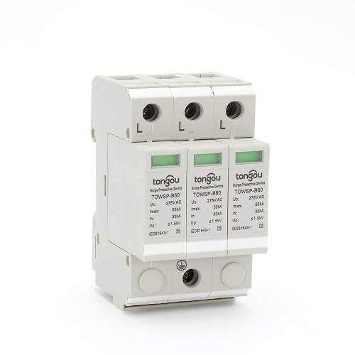 SPD AC 3P 30KA~60KA B ~275V House Surge Protector Protection Protective Low-voltage Arrester Device