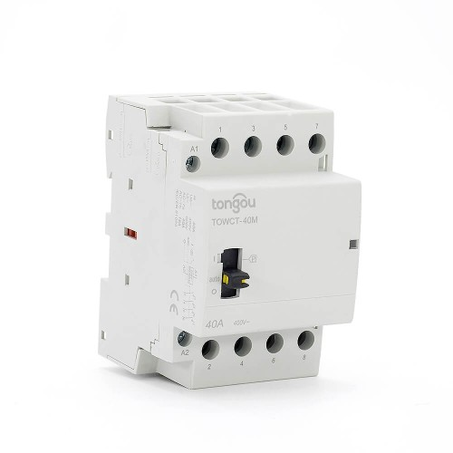 4P 40A 4NO CE CB Din Rail Household Modular Contactor AC 220V/230V/400V With Manual Control Switch TOWCTH-40/4