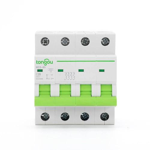 TOMC5-63 3KA 110V 220V Curve C 4P 25A Mini Circuit Breaker MCB