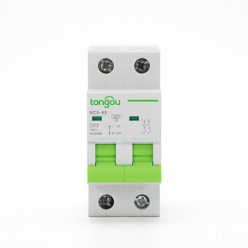 TOMC5-63 3KA 110V 220V Curve C 2P 63A Mini Circuit Breaker MCB