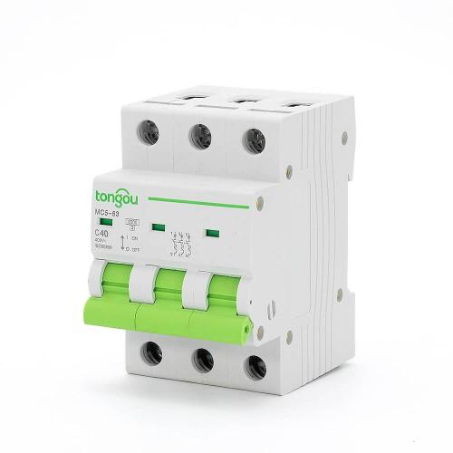 TOMC5-63 3KA 110V 220V Curve C 3P 40A Mini Circuit Breaker MCB