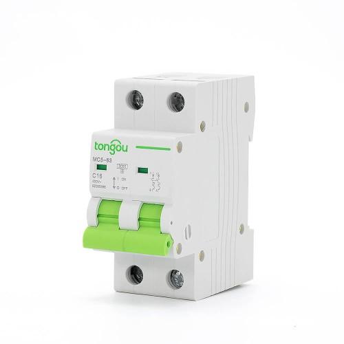 TOMC5-63 3KA 110V 220V Curve C 2P 16A Mini Circuit Breaker MCB