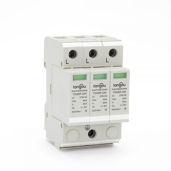 2SPD AC 3P 20KA~40KA C ~275V House Surge Protector Protection Protective Low-voltage Arrester Device