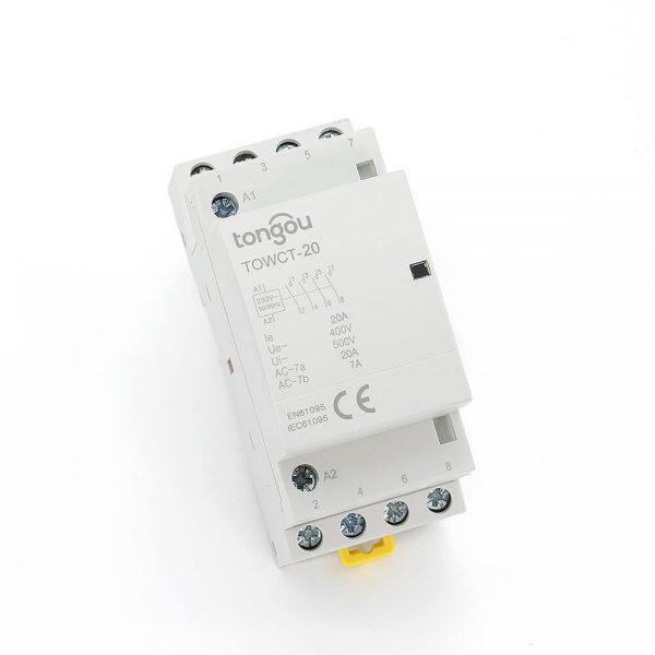 154P 20A 4NO CE CB Din Rail Household Modular Contactor AC 220V/230V/400V TOWCT-20/4