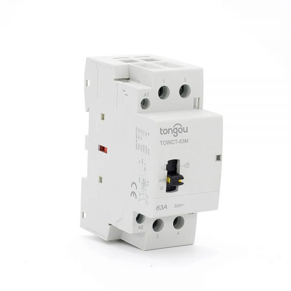 552P 63A 2NO CE CB Din Rail Household Modular Contactor AC 220V/230V With Manual Control Switch TOWCTH-63/2