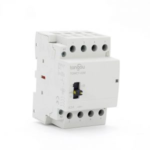 4P 63A 4NO CE CB Din Rail Household Modular Contactor AC 220V/230V/400V With Manual Control Switch TOWCTH-63/4