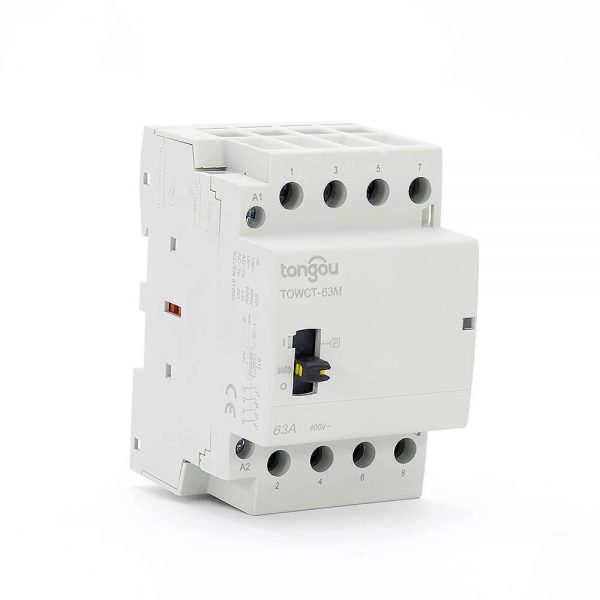 234P 63A 4NO CE CB Din Rail Household Modular Contactor AC 220V/230V/400V With Manual Control Switch TOWCTH-63/4