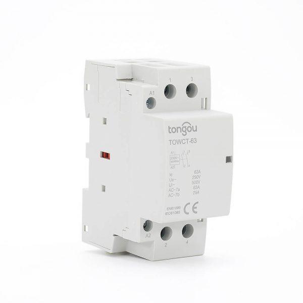 2P 63A 2NO CE CB Din Rail Household Modular Contactor AC 220V/230V TOWCT-63/2
