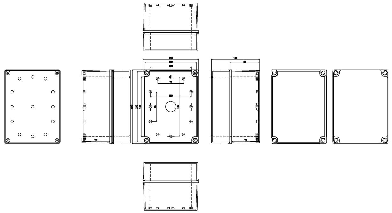 ip67 200 150 130 mm waterproof electrical plastic junction