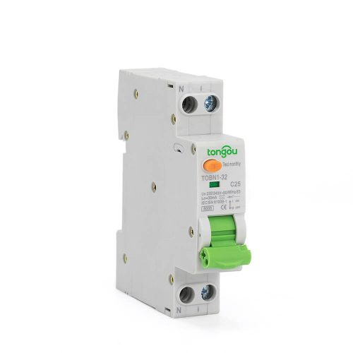 TOBN1-32 RCBO 6A-32A 30mA 6KA 1P+N Residual Current Circuit Breaker With Overcurrent Protection