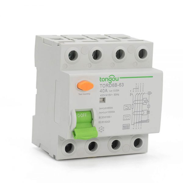 TORD6B-63 4Pole Type B RCD 16A-63A 30mA Residual Current Circuit Breaker RCCB